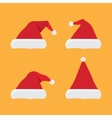 set of red santa hats vector image