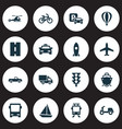 shipment icons set collection of omnibus way vector image vector image