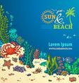 Summer cartoon marine life background vector image vector image