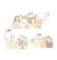 taking selfie on smartphone classmates gathering vector image vector image