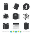toilet paper icons kitchen roll towel symbols
