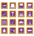 turkey travel icons set purple vector image vector image