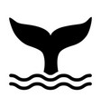 whale tail or mermaid tail making waves icon vector image