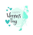 woman day background 8 march poster with hand vector image vector image
