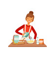 young cheerful woman mixing dough with mixer vector image vector image