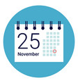 calender icon on round blue background vector image