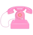 Pink retro telephone vector image