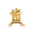 48 years gift box ribbon anniversary vector image vector image