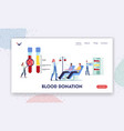 blood donation landing page template tiny doctor vector image