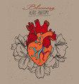 blooming heart concept vector image vector image