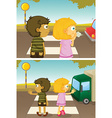 Boy and girl crossing road vector image vector image
