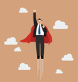 Businessman superhero flying into the sky vector image vector image
