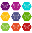 butterfly with dot wings icons set 9 vector image vector image