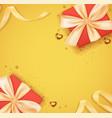 card with gift box and ribbon vector image vector image