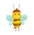 cartoon bee insect character happy fly vector image vector image