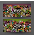 Cartoon colorful doodles design banners vector image vector image