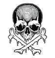 cartoon decorative human skull vector image vector image