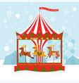 christmas card reindeer carousel cartoon vector image vector image