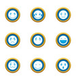 emotional spectrum icons set flat style vector image vector image
