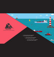 flat marine transport composition vector image vector image