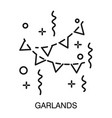 garlands or serpentine isolated outline icon vector image