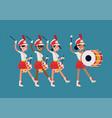 girls marching band flat abstract parade drummer vector image
