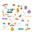 Hand drawn color set of sewing tools vector image vector image
