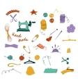 hand drawn color set sewing tools vector image vector image