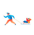 happy father and son sledding outdoors vector image