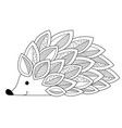 hedgehog doodle coloring book page antistress vector image vector image
