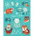 Hello winter card Christmas set with cartoon vector image