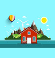House in nature flat design landscape vector image