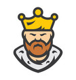 king bearded man cartoon vector image vector image