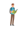 male tourist with backpack holding road map vector image vector image