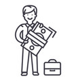 man with big money and suitcase line icon vector image vector image