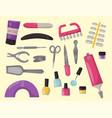 manicure instruments hygiene hand care pedicure vector image