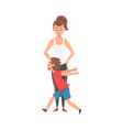 mother and her mischievous son naughty rowdy boy vector image vector image