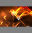 neon square and line lights on dark background vector image vector image