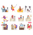 online vlogger icon set vector image vector image