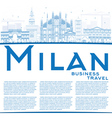 Outline Milan Skyline with Blue Landmarks vector image vector image