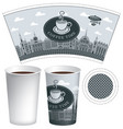 paper cup template with old town and coffee cup vector image vector image