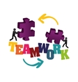 pictogram puzzle teamwork support design vector image vector image