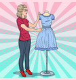 pop art fashion designer with dress on a mannequin vector image
