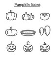 pumpkin icon set in thin line style vector image vector image