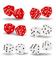 red and white dice on a white background vector image