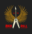 rock and roll music symbols with guitar wings vector image