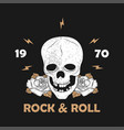 rock music print for apparel with skull and rose vector image vector image