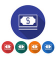 round icon of banknotes pack flat style with long vector image vector image