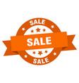 sale ribbon sale round orange sign sale vector image vector image