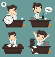 Set of businessman sitting on desk office worker vector image